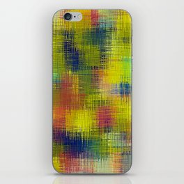 yellow red and blue plaid texture iPhone Skin