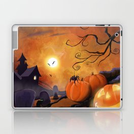 Halloween Cemetery Pumpkins Spiders and Bats Laptop & iPad Skin