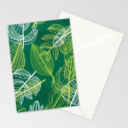 Lovely green leaves pattern illustration Stationery Cards