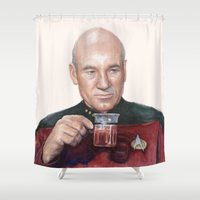 picard Shower Curtains featuring Tea. Earl Grey. Hot. Captain Picard Star Trek | Watercolor by Olechka
