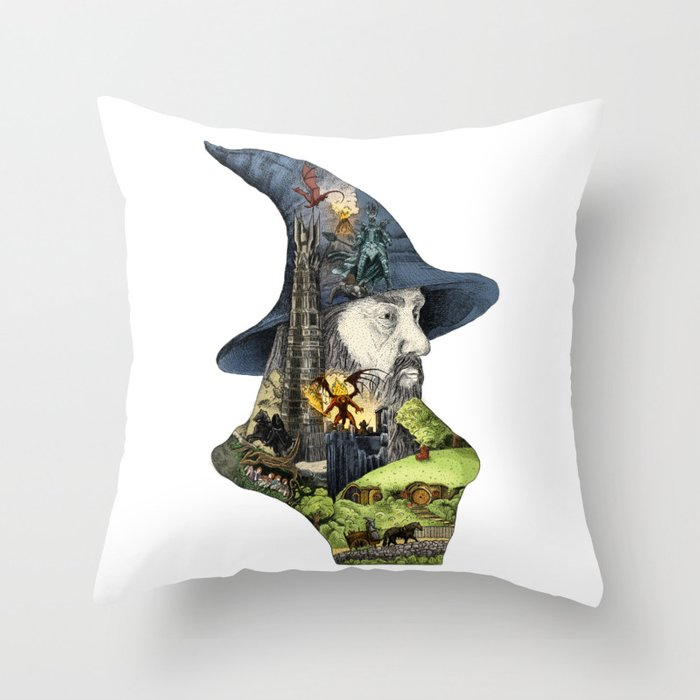 Story of the wizard of the rings Throw Pillow