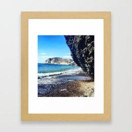 Santorini Cliff Framed Art Print