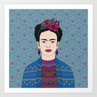 frida kahlo Art Prints featuring Frida Kahlo by Bianca Green