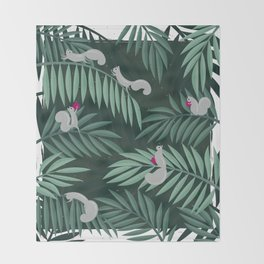 Palm Leaves & Squirrels Throw Blanket