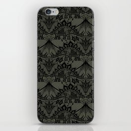 Stegosaurus Lace - Black / Grey iPhone Skin