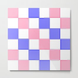 Pink & Blue Checkers / Checkerboard Metal Print