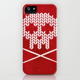 Knitted Skull / Knitting with Attitude (white on red) iPhone Case