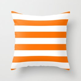 Bright Tumeric Orange and White Wide Horizontal Cabana Tent Stripe Throw Pillow