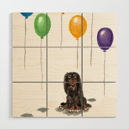 Toy Spaniel with balloons Wood Wall Art