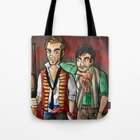 enjolras Tote Bags featuring reverse25th!Enjolras and Grantaire by Fra França