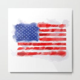 Watercolor American Flag for Veterans and Patriots Metal Print