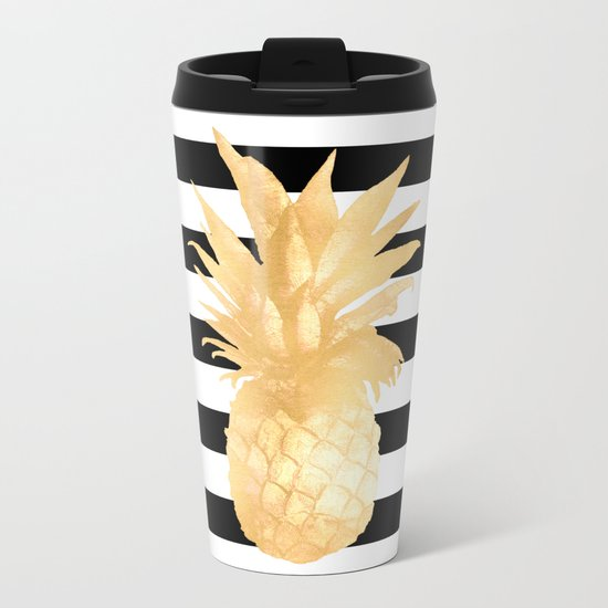 Gold Pineapple Black and White Stripes Metal Travel Mug