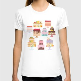 Birthday, valentine's day, wedding, engagement. Set sweet cake, fruits, berries T-shirt