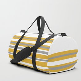 Perfectly Mustard Striped Color Block with White and Gray Duffle Bag