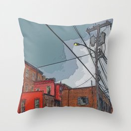 View from the alley - Night approaching Savannah Throw Pillow