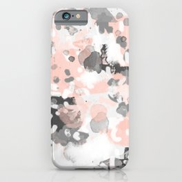 grey and millennial pink abstract painting trendy canvas art decor minimalist iPhone Case