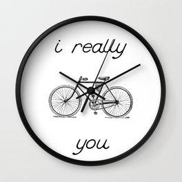 I really bike you - retro bike with saying Wall Clock