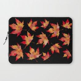 Maple leaves black Laptop Sleeve