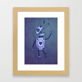 Happy Cartoon Singing Robot Framed Art Print