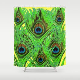 YELLOW-GREEN PEACOCK FEATHERS ABSTRACT ART Shower Curtain