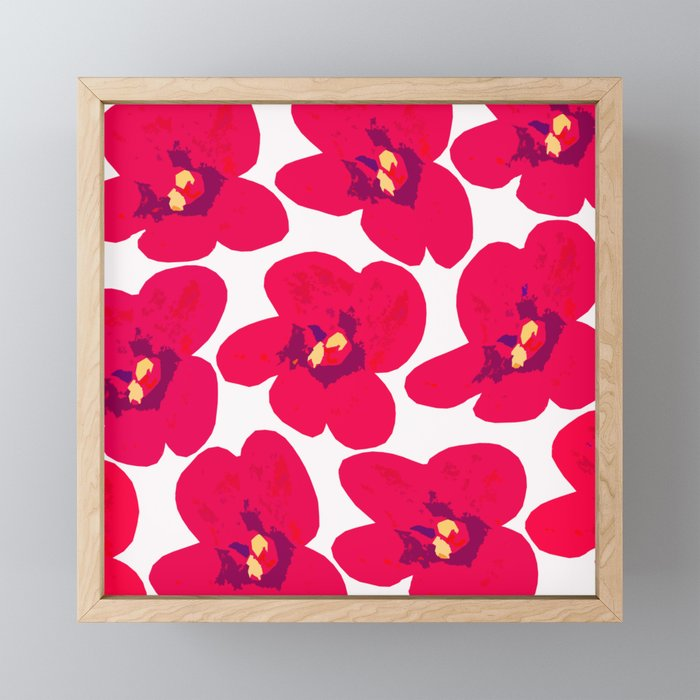 Red Retro Flowers #decor #society6 #buyart Framed Mini Art Print