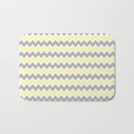 Grey Gray and Yellow Chevron Bath Mat