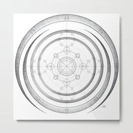 Black and white aztec sacred geometry art Metal Print