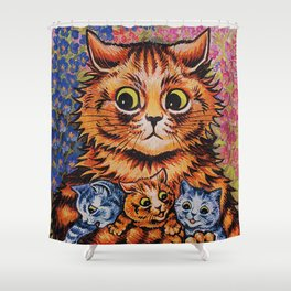Cat and Her Kittens-Louis Wain Cats Shower Curtain