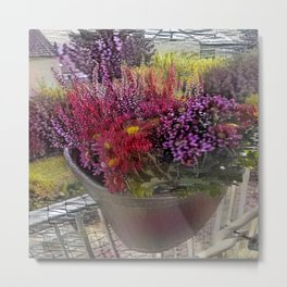 Fall Balcony Flower Pot Metal Print