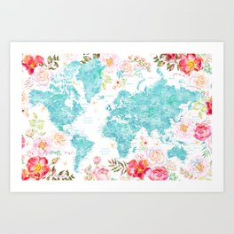 Floral watercolor world map in aquamarine blue Art Print