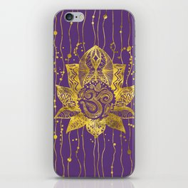 Gold Lotus flower and OM symbol iPhone Skin