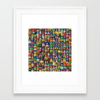 justice league Framed Art Prints featuring Action Figure Grid: Justice League Unlimited by CantinaDanny
