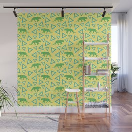 Wild African walking green female lion silhouettes and abstract triangle shapes. Stylish classy warm sunny pastel yellow seamless retro vintage geometric animal nature pattern. Wall Mural