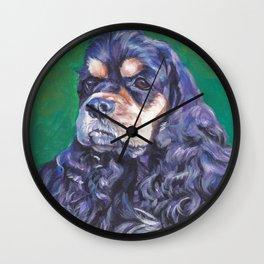 Cocker Spaniel dog art portrait from an original painting by L.A.Shepard Wall Clock