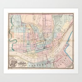 Vintage Map of Cincinnati OH (1868) Art Print