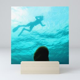 Watercolor Sealife Pillar Coral 01, Something Lurking Above... Mini Art Print
