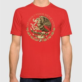Mexican flag seal in sepia tones on black bg T-shirt