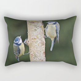 Blue Tit ( Cyanistes caeruleus) Rectangular Pillow