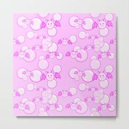 Bubbles and Bats Pink Metal Print
