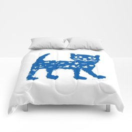 Navy blue cat pattern Comforters