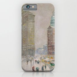City Hall Park, The New York Scene, NYC skyline winter landscape painting by Guy Carleton Wiggins iPhone Case