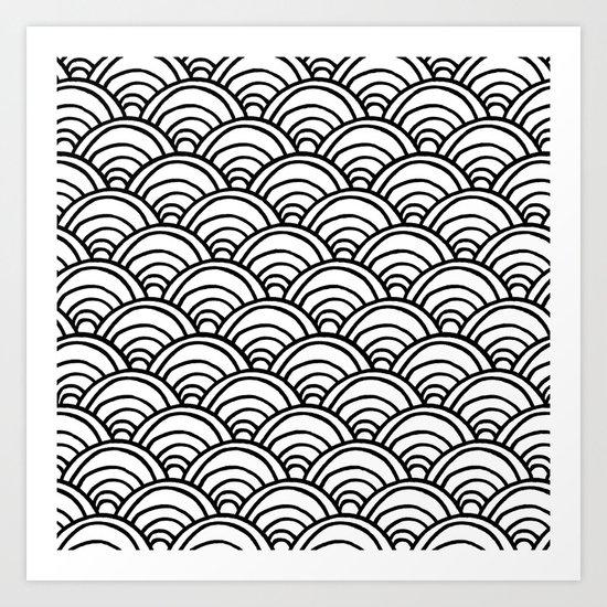 Waves All Over - Black on White Art Print