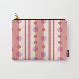 Modern Circles and Stripes in Peach and Cream Carry-All Pouch