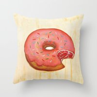 donut Throw Pillows featuring Donut by colorlabo