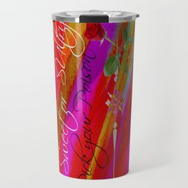 Sweet or Sultry - Sexy Crimson Red Valentine's Day Stripes Typography Abstract Watercolor Painting Travel Mug