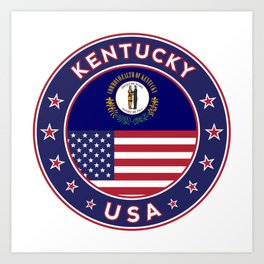 Kentucky, Kentucky t-shirt, Kentucky sticker, circle, Kentucky flag, white bg Art Print