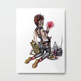 Pin up Grrl, Artsy Metal Print