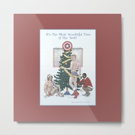 Team Cap Nice Pinup Holiday Card Metal Print