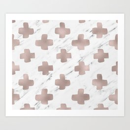 Rose gold marble - scandinavian cross Art Print