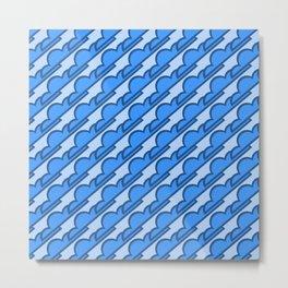 Classic Blue Stylized Clouds Pattern Metal Print
